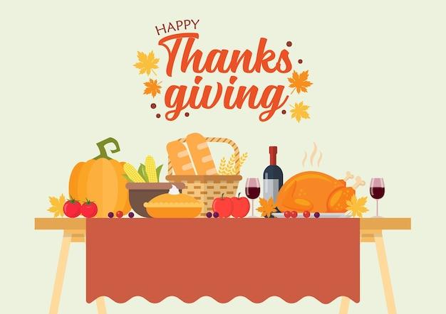 Ilustracja wektorowa obiad dziękczynienia. uroczysta świąteczna kolacja.