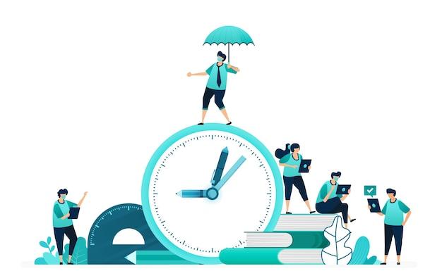 Ilustracja wektorowa obliczania czasu nauki dla studentów. dobór i planowanie ram czasowych edukacji. pracownicy kobiet i mężczyzn. zaprojektowany dla strony internetowej, strony internetowej, strony docelowej, aplikacji, interfejsu użytkownika, plakatu, ulotki