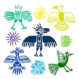 Ilustracja wektorowa obrazów prymitywnych plemiennych ptaków. peru i ekwador indianie symbole na białym tle