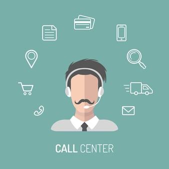 Ilustracja wektorowa obsługi klienta, ikony operatorów call center z zestawami słuchawkowymi.