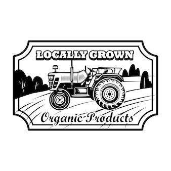 Ilustracja wektorowa odznaka produktu ekologicznego. ciągnik rolniczy, rama sześciokątna, tekst uprawiany lokalnie. koncepcja rolnictwa lub agronomii dla emblematów, znaczków, szablonów etykiet