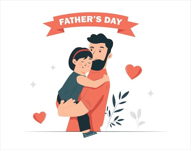Ilustracja wektorowa ojca trzymającego syna w ramionach szczęśliwy dzień ojca kartkę z życzeniami