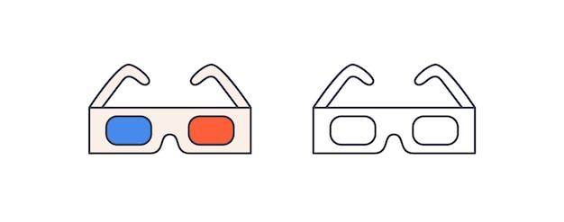 Ilustracja wektorowa okulary 3d. trójwymiarowy sposób oglądania filmów. współczesne okulary z niebieskim i czerwonym elementem kolorystycznym soczewek. nowoczesny sprzęt kinowy na białym tle.