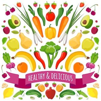 Ilustracja wektorowa owoców i warzyw