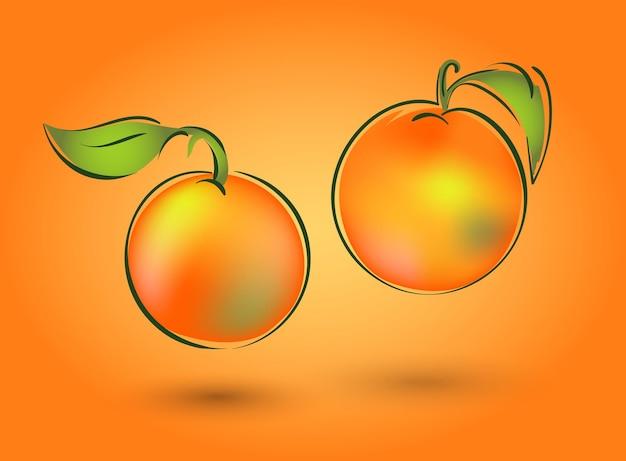Ilustracja wektorowa owocu. może to być mandarynka, jabłko lub brzoskwinia