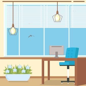 Ilustracja wektorowa płaski projekt wnętrz biurowych.