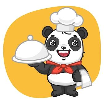 Ilustracja wektorowa, panda chef trzymając tacę, format eps 10
