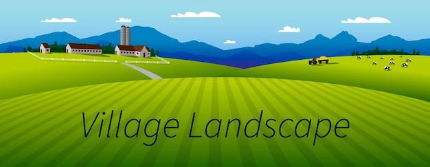 Ilustracja wektorowa panoramy pięknego krajobrazu lub doliny letnich pól, zielonych wzgórz, wysokich gór, błękitnego nieba. wieś. farma, ciągnik, krowy. tło dla produktów rolnych.