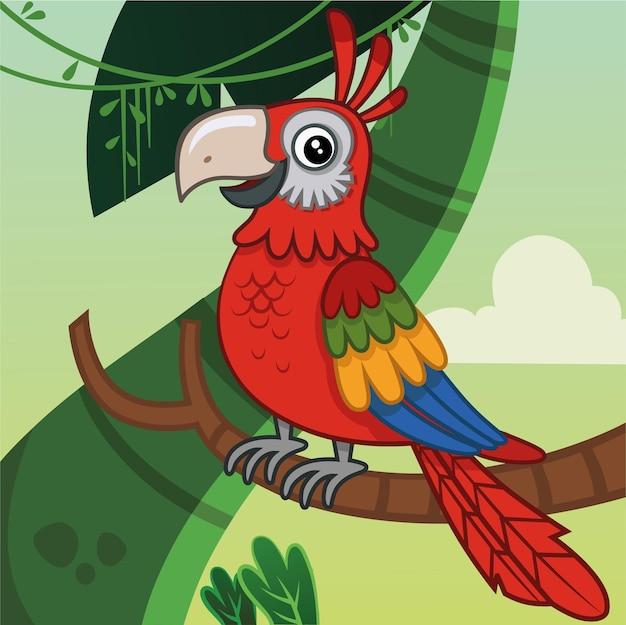 Ilustracja wektorowa papuga kreskówka