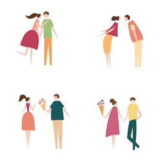 Ilustracja wektorowa para zakochanych. sylwetka romantycznych postaci ludzi. płaski projekt kreskówka wektor logo, druk, karty, ulotki, tkaniny, plakat.