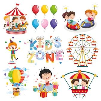 Ilustracja wektorowa parku rozrywki