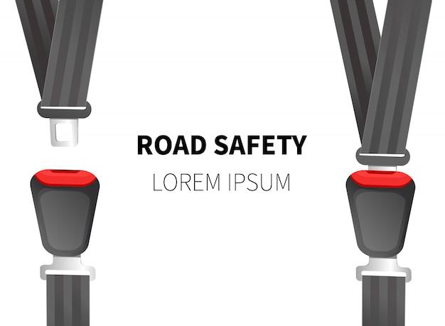 Ilustracja wektorowa pasa bezpieczeństwa. pasy samochodowe.