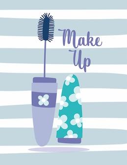 Ilustracja wektorowa paski kosmetyczne makijaż tusz do rzęs