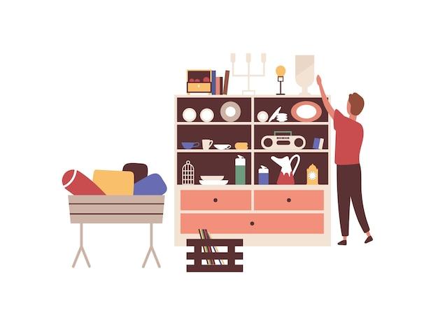 Ilustracja wektorowa pchli targ. pomysł na sprzedaż ceramiki. vintage naczynia sprzedawca płaski charakter. sprzedaż garażu na białym tle. handel ceramiką i porcelaną. z drugiej ręki, używane rzeczy. przedmioty retro.