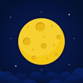 Ilustracja wektorowa pełni księżyca z bliska i wokół gwiazd