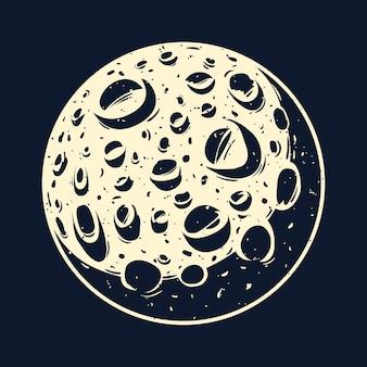 Ilustracja wektorowa pełni księżyca z kraterami.