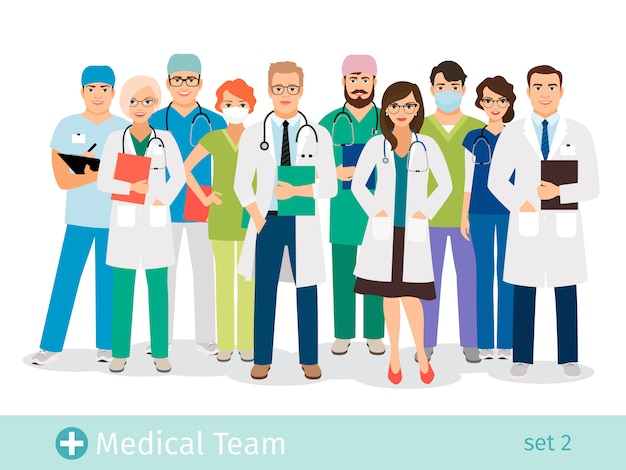 Ilustracja wektorowa personelu szpitala lub laboratorium medycznego. męskich i żeńskich pracowników służby zdrowia postaci z kreskówek opieki zdrowotnej do badań