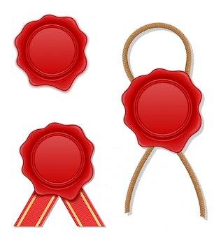 Ilustracja wektorowa pieczęć czerwony wosk