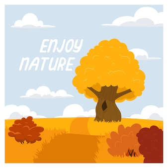 Ilustracja wektorowa pięknego jesiennego krajobrazu, ciesz się naturą.