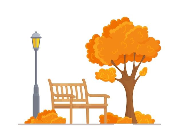 Ilustracja wektorowa pięknego jesiennego parku miejskiego z miejskim tłem. wieczór w parku. ławka, drzewo, latarnia.