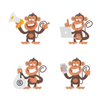 Ilustracja wektorowa, pieniądze małpy i technologia, format eps 10