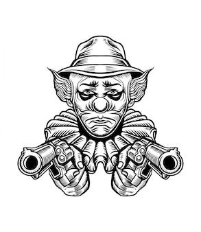 Ilustracja wektorowa pistolet clown chicano