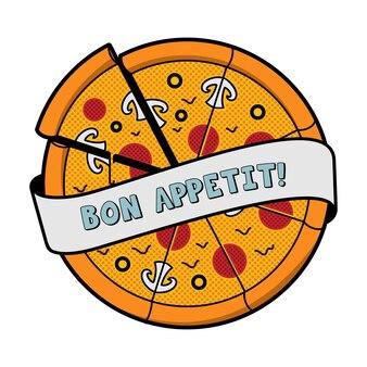 Ilustracja wektorowa pizzy w stylu kreskówki