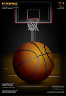 Ilustracja wektorowa plakat koszykówki reklamy
