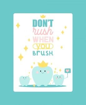 Ilustracja wektorowa plakat stomatologii. zdrowy ząb pod ochroną z efektem świecącym, koncepcja wybielania zębów.