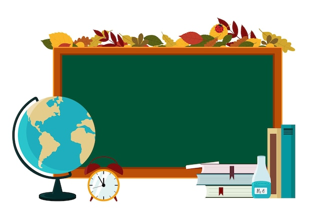 Ilustracja wektorowa plakatu na temat powrotu do szkoły. globus, podręczniki, ołówek na tle szkolnej tablicy