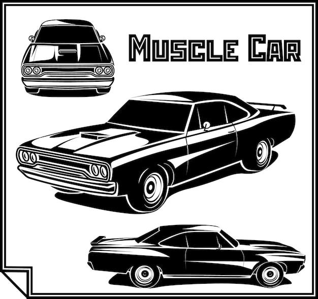 Ilustracja wektorowa plakatu samochodu mięśni