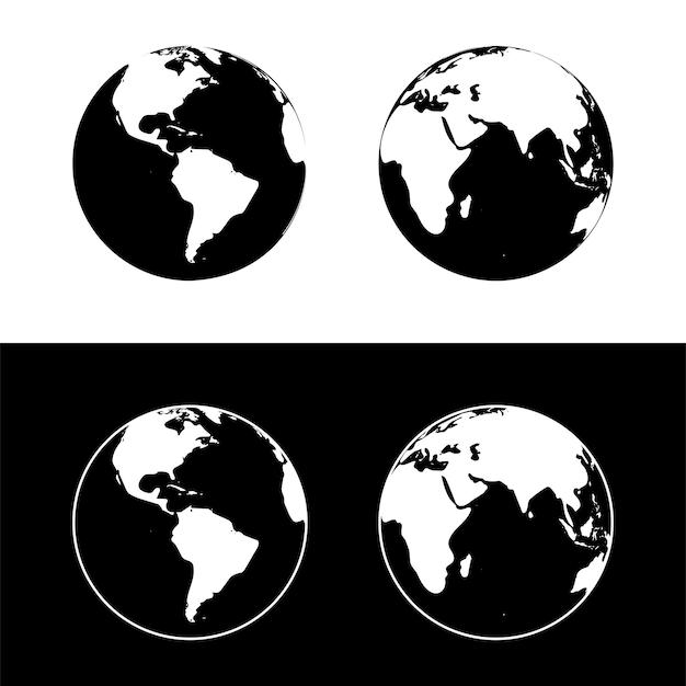 Ilustracja wektorowa planety ziemia. globus ziemi na białym tle na czarno-białe tło.