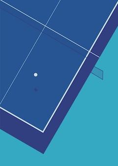 Ilustracja wektorowa planszy do tenisa stołowego widziana z góry z cieniem
