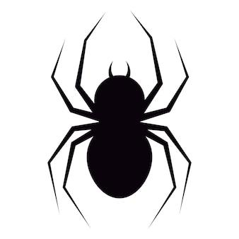 Ilustracja wektorowa płaska konstrukcja czarnego pająka z kłami sylwetka ikona na białym tle.