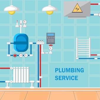Ilustracja wektorowa płaska konstrukcja usługi hydrauliczne.