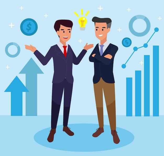 Ilustracja wektorowa, płaski, biznesmeni omawiają sieć społecznościową, wiadomości, wektor, sieci społecznościowe, czat, dialog, nowe projekty