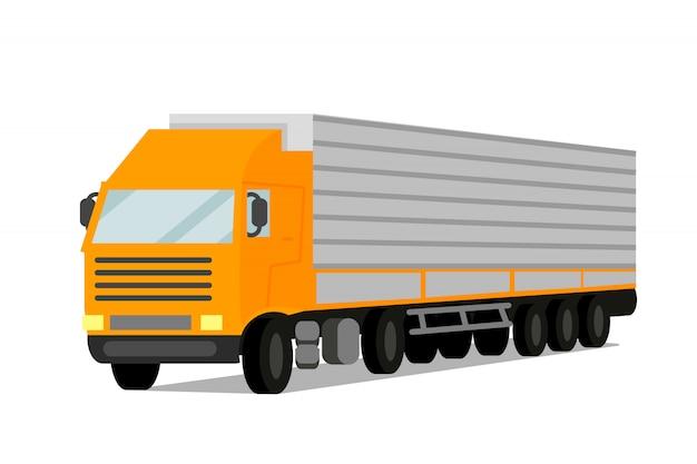 Ilustracja wektorowa płaski ciągnika ładunku przyczepy