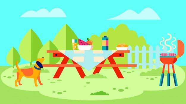 Ilustracja wektorowa płaski grill ogród party