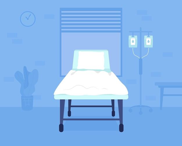 Ilustracja wektorowa płaski kolor łóżka szpitalnego