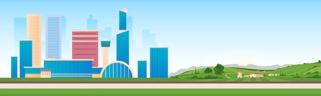 Ilustracja wektorowa płaski kolor obszarów miejskich i wiejskich. nowoczesna infrastruktura obok wsi krajobraz z kreskówek 2d. widok wieżowców i domów wiejskich.