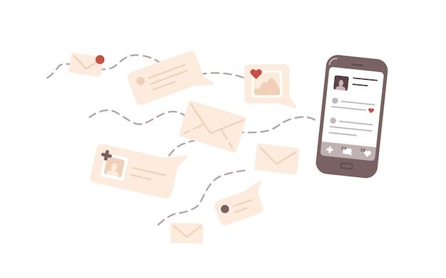 Ilustracja wektorowa płaski komunikacji online. korespondencja, aktywność na portalach społecznościowych