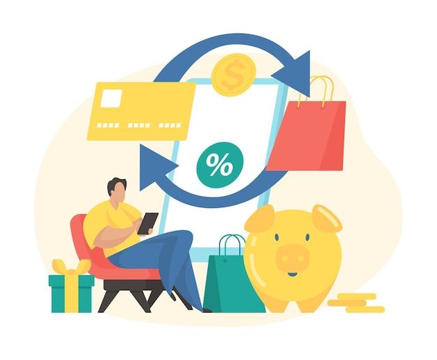 Ilustracja wektorowa płaski koncepcja usługi cashback. męska postać z kreskówki płaci za zakupy i otrzymuje zwrot pieniędzy online. program nagród cashback