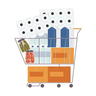 Ilustracja wektorowa płaski koszyk pełen produktów.