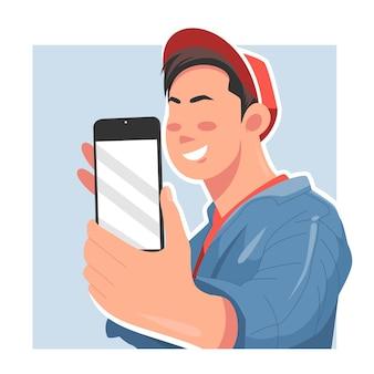 Ilustracja wektorowa płaski mężczyzna selfie poza