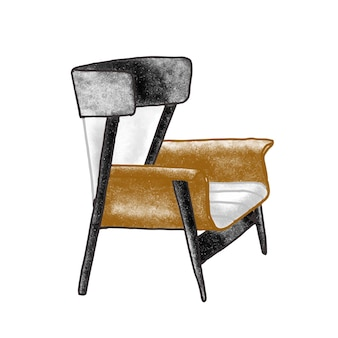 Ilustracja wektorowa płaski modny fotel retro. krzesło vintage brązowy na białym tle. ręcznie rysowane element mebli. wygodne siedzenie. element wnętrza domu w staromodnym stylu.