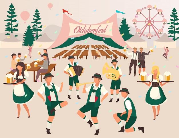 Ilustracja wektorowa płaski oktoberfest