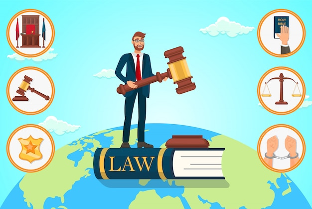 Ilustracja wektorowa płaski prawnik opiera się na prawie.