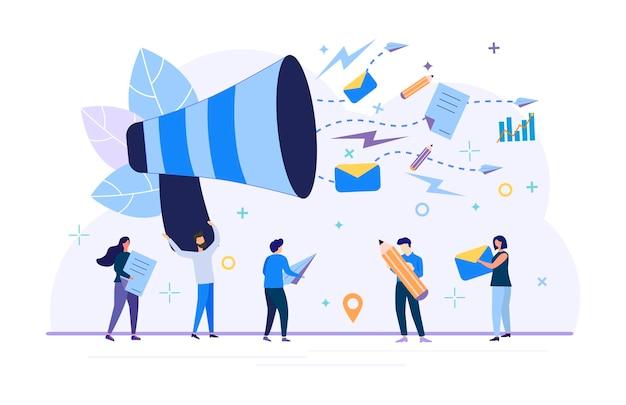 Ilustracja wektorowa, płaski, promocja biznesu, reklama, sygnał dźwiękowy, alert online. ilustracja nowoczesnego designu strony internetowej, ulotki, plakatu, mediów społecznościowych.