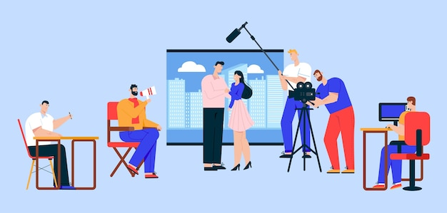 Ilustracja wektorowa płaski przemysłu kinowego. reżyser filmowy, operator, inżynier dźwięku i postaci z kreskówek aktorek. film akcji, proces kręcenia reklam