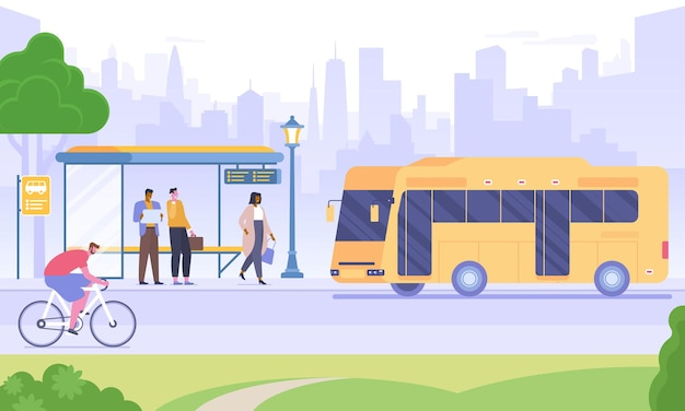 Ilustracja wektorowa płaski przystanek autobusowy. ludzie czekają na autobus, człowiek jazda rowerem postaci z kreskówek. środki transportu miejskiego. transport publiczny na tle drapaczy chmur. infrastruktura miejska